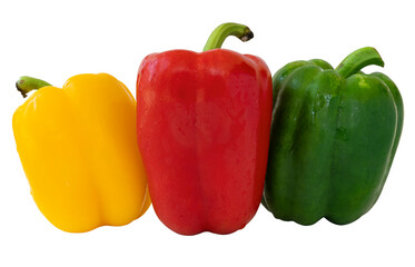 Sweet pepper isolated on white background, clipping path