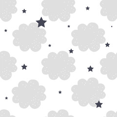 Cute cloud seamless pattern.Vector illustration for background,wallpaper,frabic.Editable element