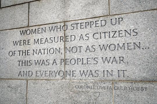 Inscription honoring women on the World War II Memorial in Washington, D.C.
