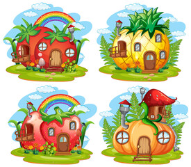 Poster Kids Set of fantasy fairy house
