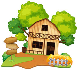 Poster Kids Isolated farmer house on white background