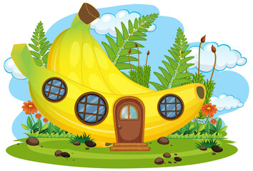 Stores à enrouleur Jeunes enfants Isolated fantasy banana house
