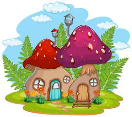Türaufkleber Kinder Isolated fantasy mushroom house
