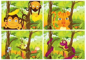 Poster Kids Set of wild animals in forest