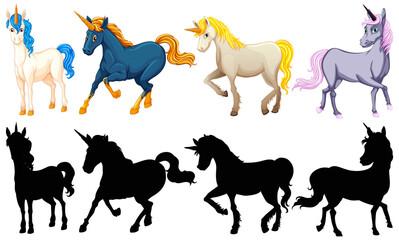 Set of cute unicorn cartoon character