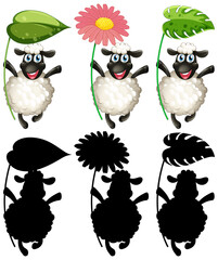 Happy sheep holding leaf and flower set