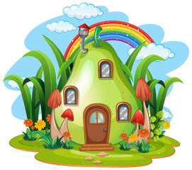Fantasy fruit house isolated