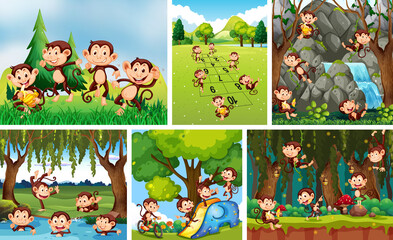 Set of playful monkey in nature background