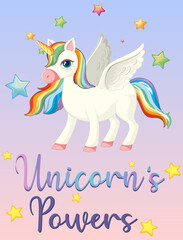 Unicorn power on pink sky