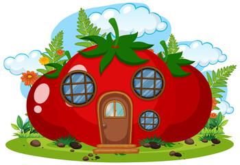 Tomato fairy house isolated