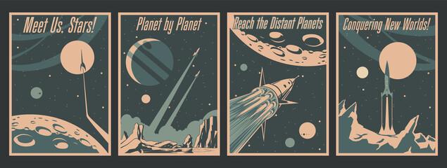 Obraz Retro Futurism Space Conquering Poster Set, Spacecraft, Rockets, Space Mission Propaganda Placards - fototapety do salonu