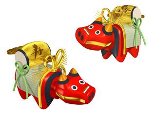 福島県会津地方の赤い牛の張り子人形の3DCGイラスト