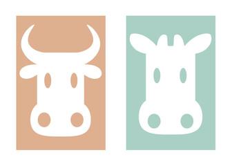 シンプルな牛のキャラクターイラスト