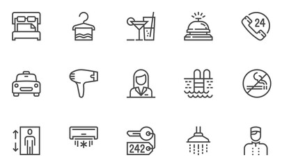 Hotel vector line icons set. Toiletries, air conditioning, lobby boy, large bed. Editable stroke. 48x48 Pixel Perfect. Wall mural