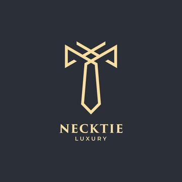 necktie luxury logo vector with gold colour dark background