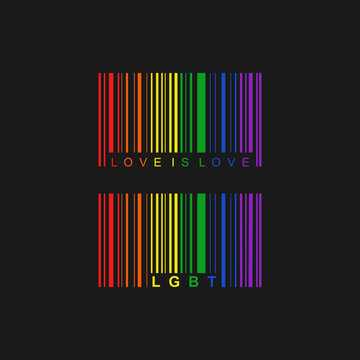 LGBT LGBTQ pride symbol flag month Barcode logo sign of tolerance peace Creative modern design Fashion print clothes apparel greeting invitation card picture banner badge poster flyer website Vector