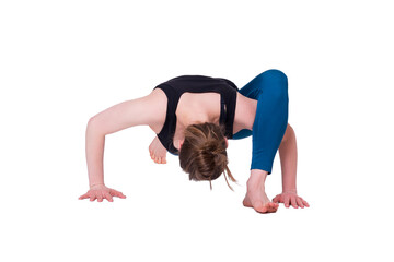 Young woman exercising (fitness, yoga, gymnastics) isoleted on white background