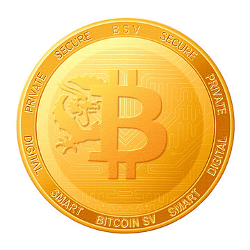 Bitcoin SV coin isolated on white background; Bitcoin SV BSV cryptocurrency