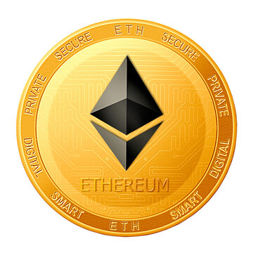 Ethereum coin isolated on white background; Ethereum ETH cryptocurrency