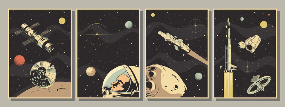 Space Astronautics Posters, Astronaut, Spacecraft, Rockets, Planets, Asteroid, Retro Style
