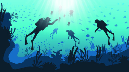 Wall Murals Green coral Abstract Blue Underwater Ocean Sea Nature Background Vector With Fish Shadows Seaweed DIvers