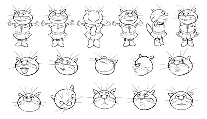 Tuinposter Babykamer Vector Illustration of a Cute Cartoon Character Cat for you Design and Computer Game. Coloring Book Outline Set