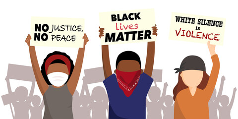 Black lives matter. Anti-racism protesters holding sign of No justice, no peace and I can not breath. Protesting against racial inequality in protest of the death of George Floyd. Flat vector