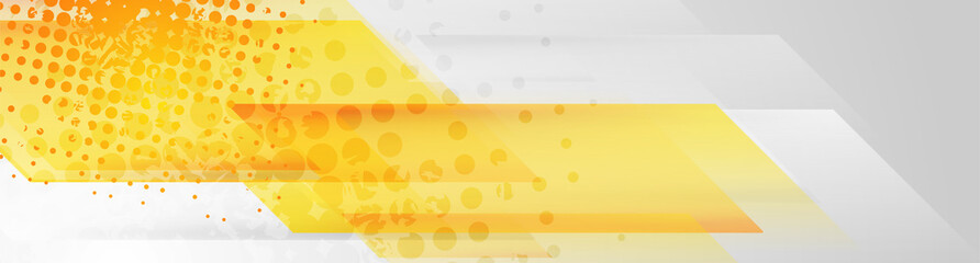 Fotobehang - Yellow and grey abstract geometric grunge banner design. Hi-tech vector background
