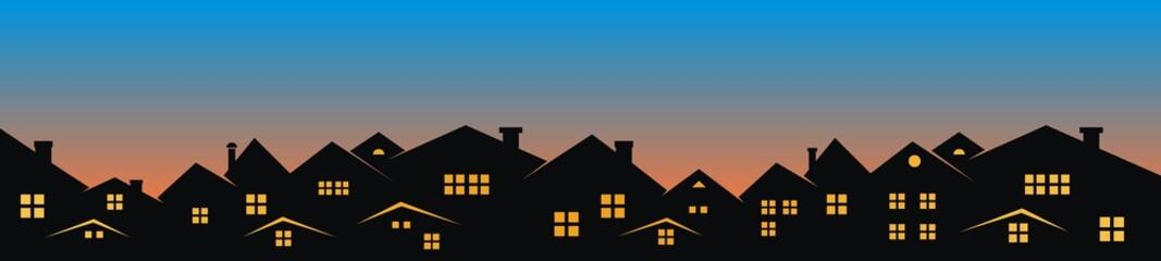 Cityscape,sunset or sunrise, vector illustration