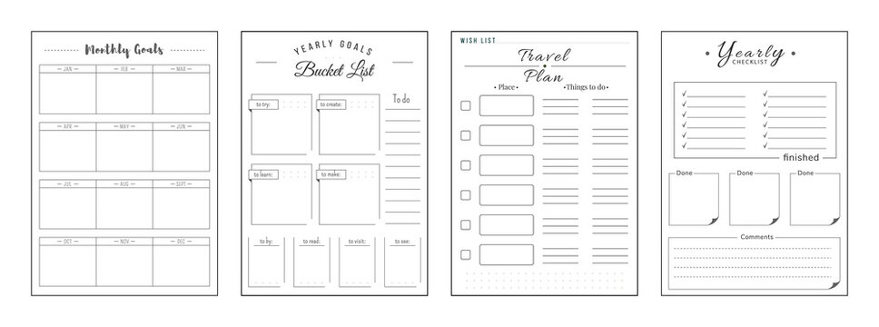 Priorities and wishes minimalist planner page set