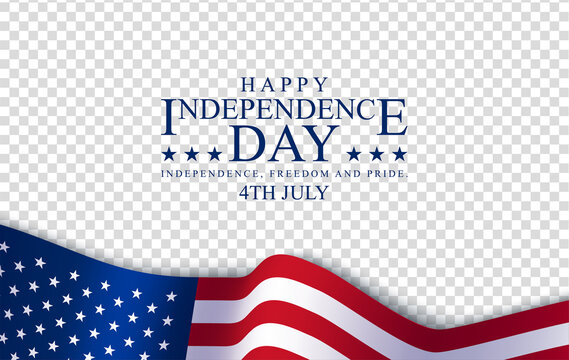 Happy 4th July Independence day, vector illustration. American flag with a logo on a transparent background. Copy space for your text. Symbol of independence and freedom. Holiday and sales concept.
