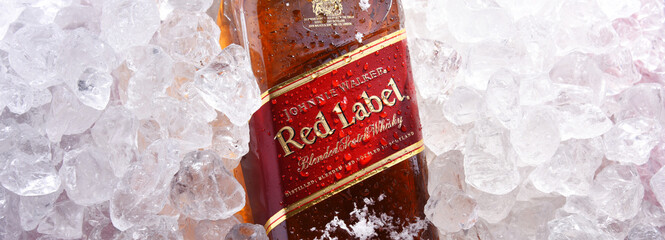Bottle of Johnnie Walker whisky in crushed ice
