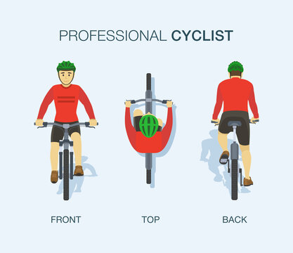 Professional cyclist. Front, back and top view of bicycle. Flat vector illustration.