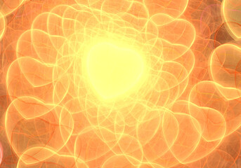 Golden hearts into infinity fractal illustration
