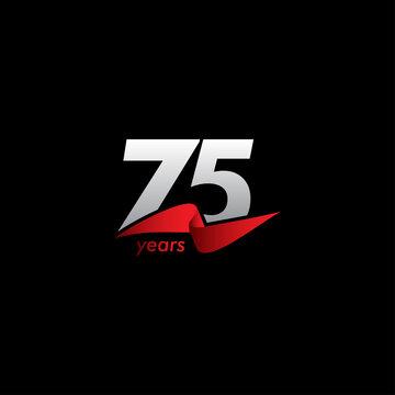 75 Years Anniversary Celebration White Black Red Ribbon Vector Template Design Illustration