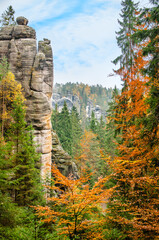 Tall rock formations in Adrspachsko-teplicke skaly, Czech Republic