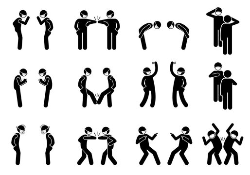 Handshake shaking hands alternatives on pandemic coronavirus Covid-19. Vector stick figure of elbow bump, waving hand, bow, salute, foot tap, nameste, hand over heart, pointing finger, and hip bump.