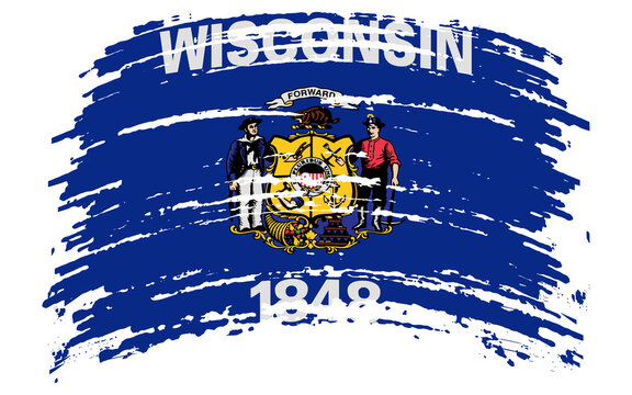 Wisconsin flag in grunge brush stroke, vector
