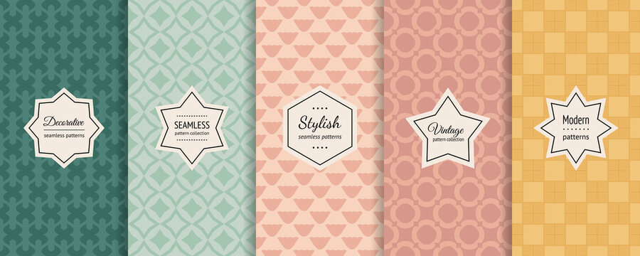 Vector colorful seamless patterns collection. Stylish geometric backgrounds with minimal labels. Set of abstract vintage ornaments. Retro textures in pastel colors, mint green, teal, soft pink, yellow
