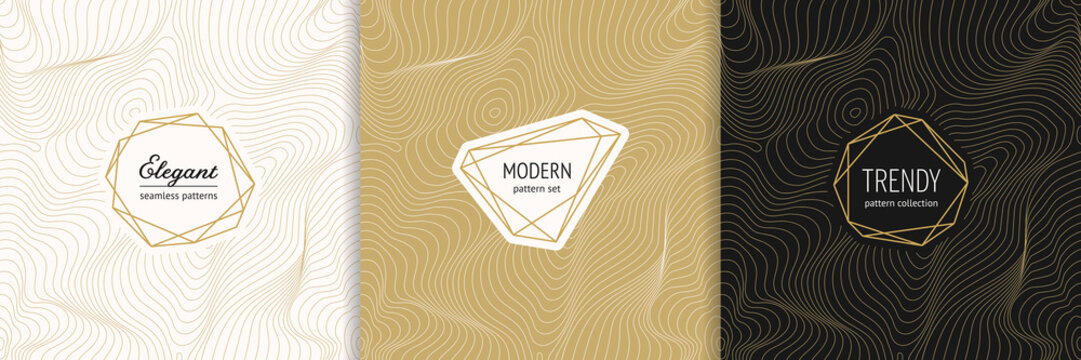Vector golden seamless pattern collection with modern minimal labels. Luxury minimalist linear gold backgrounds with thin curved lines. Metal foil abstract texture. Dynamic surface. Trendy design