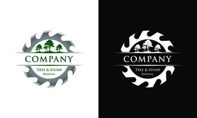 Sawmill services vintage design logo