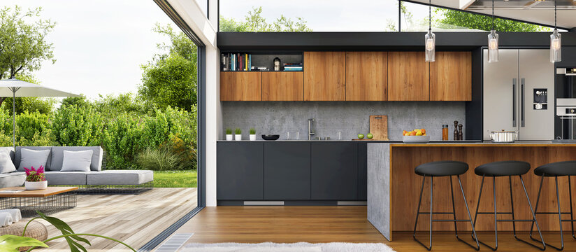 Interior design of a kitchen in a modern house with an open terrace