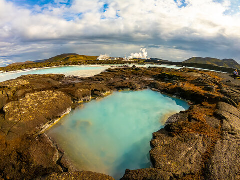 Geothermal power station at Blue lagoon Iceland. Popular tourist attraction