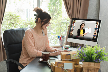 Online course attended by woman at home, learning at home with 10 other people