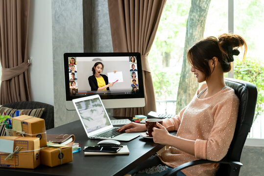 Online course attended by woman at home and working at the same time, learning at home with 10 other people