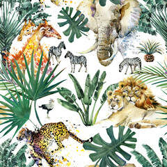 Watercolor seamless patterns with safari animals and palm trees. Exotic jungle wallpaper.  Tropical vintage botanical island.