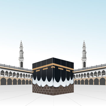 Kaaba in Haram mosque building for pilgrimage or hajj steps
