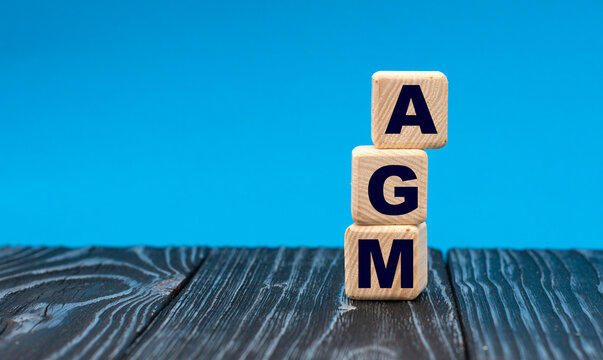 concept acronym AGM on wooden cubes on a blue background