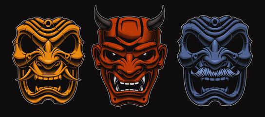 Set of vector Japanese masks of samurais isolated on the dark background. - fototapety na wymiar
