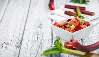 Chopped Rhubarb (close up; selective focus)